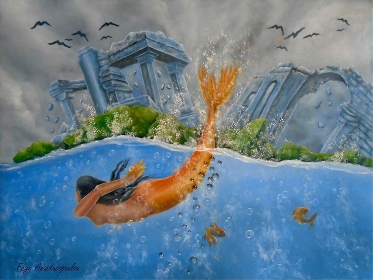 mermaid,painting,swimming,diving,ocean,scene,wild,aquatic,life,nature,ruins,temples,wave,big,tail,mythical,mythological,creature,fish,vivid,colorful,blue,beautiful,awesome,cool,unique,contemporary,realistic,figurative,fine,oil,wall,art,images,home,office,decor,artwork,modern,items,ideas,for sale,redbubble
