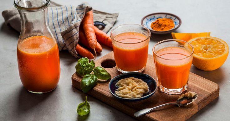 Recept på en härligt färskpressad juice fullproppad med nyttigheter från apelsin, morot och ingefära.