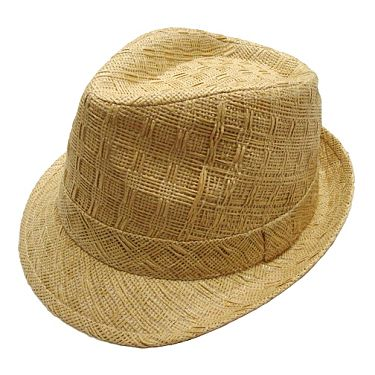 Wholesale Hats - Wholesale Square Weave Straw Fedora w/ Woven Band