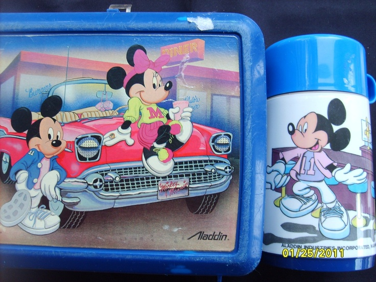 Vintage Mickey Mouse Plastic Lunch Box and Thermos by olysoldies, $25.00