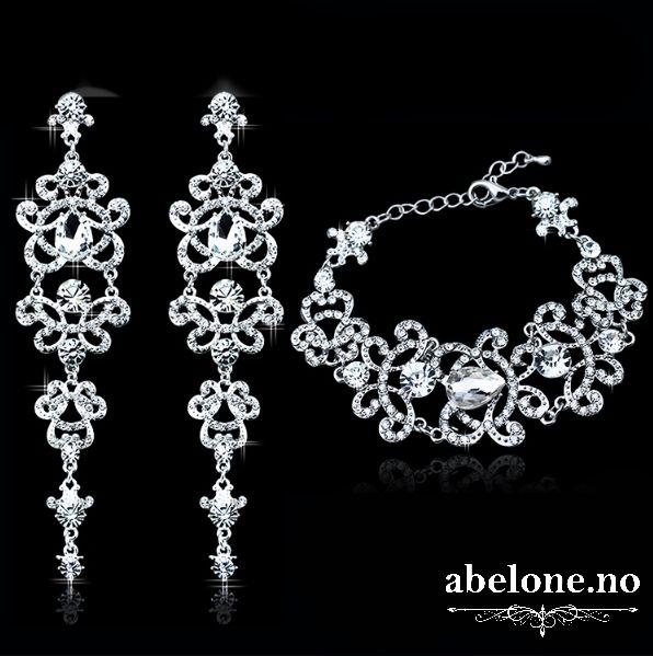 Armbånd og lange øredobber med australske krystaller - ABELONE.NO