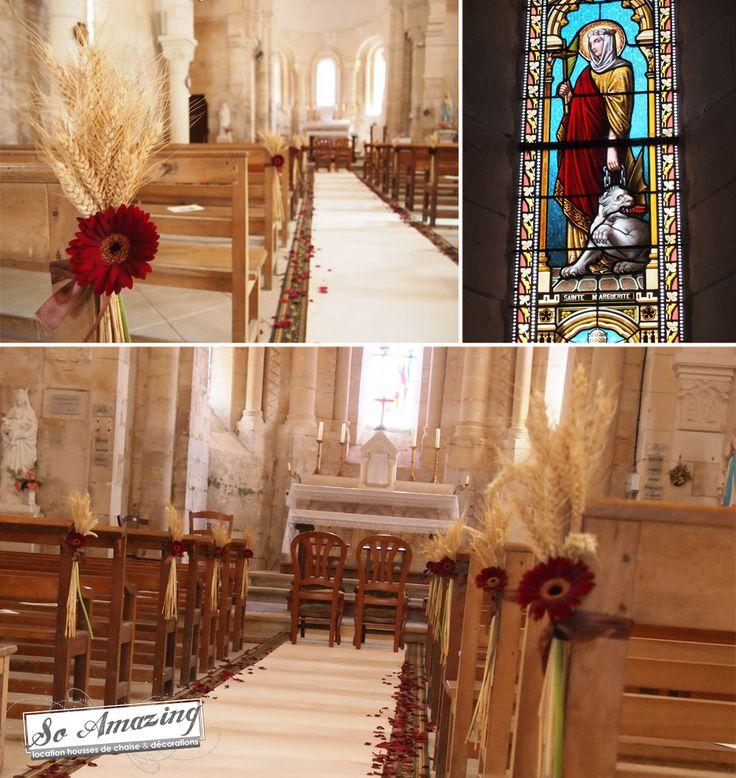 D co d 39 glise champ tre bl et gerbera rouge for Decoration table champetre