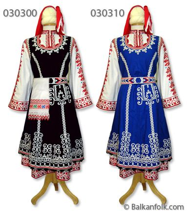 Shoppe female costume from Sofia consists of black or blue dress with piping, long shirt with Bulgarian embroidery and sash trimmed with braid. Pinafore is made ​​of black or blue cloth with white piping and red skirt with black braid ends and bosom and armholes with red piping. The shirt has a rich traditional Bulgarian embroidery and is made ​​of white cotton cloth. Shoppe shirt can be made ​​with less embroidery.