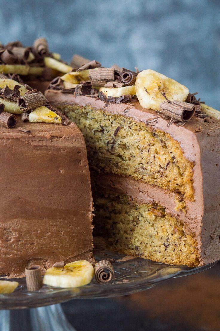 Close up of sliced vegan banana cake with chocolat…