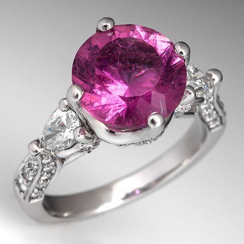 4 Carat Pink Tourmaline Cocktail Ring w/ Diamond Accents Platinum