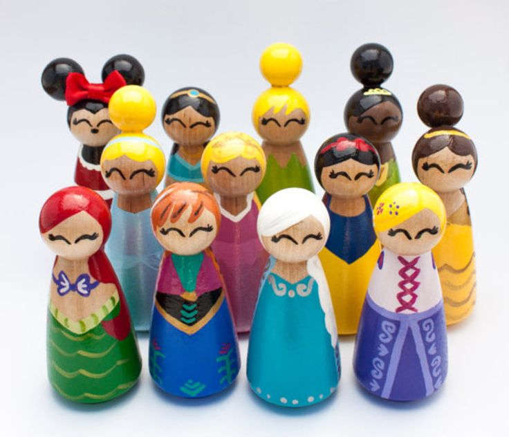 Unique Wooden Disney Princess Inspired Peg Dolls