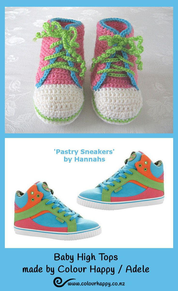 Baby High Tops crocheted in pink, lime & aqua and the sneakers that inspired the colour combination ♥Made by Colour Happy / Adele, based on a pattern by Donna Childs