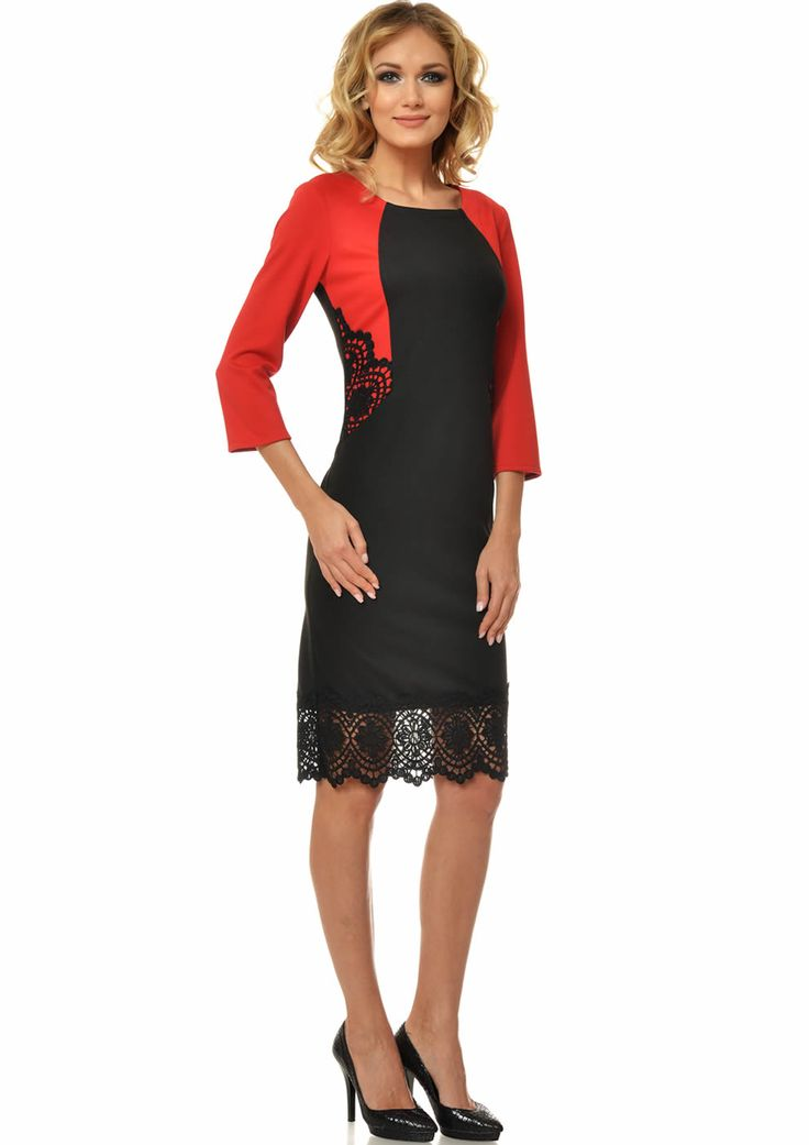 Rochie eleganta de zi cu dantela rosu cu negru