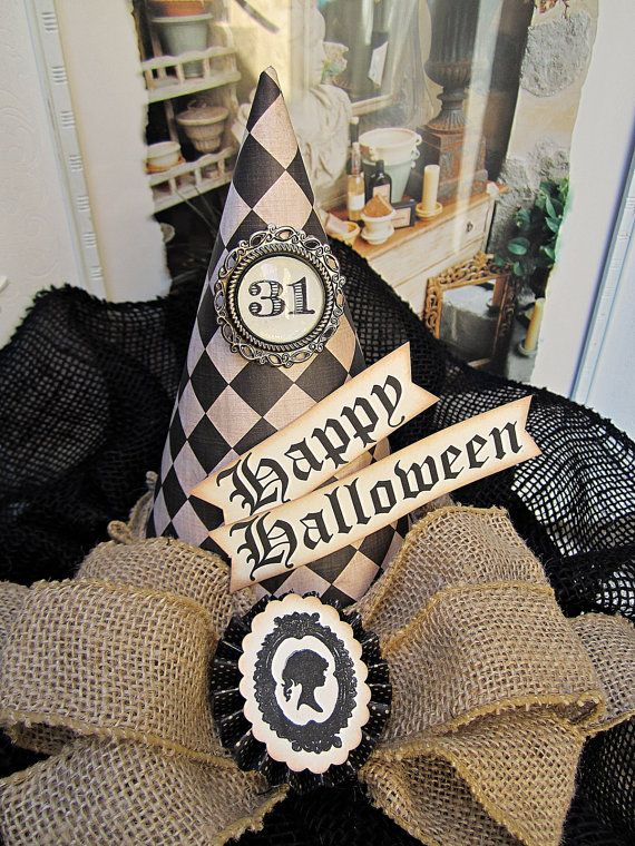 halloween decor witch hat vintage halloween burlap halloween decor rustic halloween decor burlap witch hat centerpiece tan and black