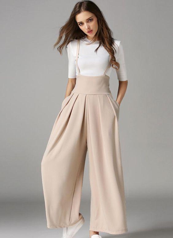 3020311cdc6 2018 trends. Elegant Loose Long Culottes Wide Leg High Waist Pockets Strap  Pants