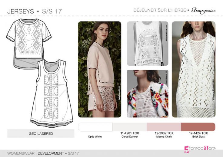 See the new forecasting fashion trends about Bourgeoise, Flamboyant, Impression, Survivalist SS17 | Womenswear| Development | Jersey, Fashion & Product development ai CAD with 5forecastore.