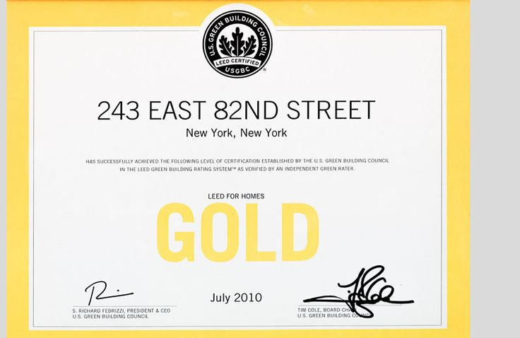 Certificate for LEED Gold Certification from the USGBC - first home in Manhattan to receive this honor (with Warmboard)