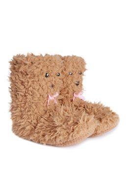 Chinelos-bota confortáveis urso castanho