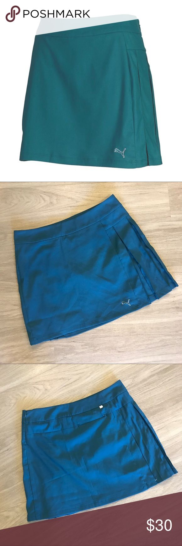 """NWOT Puma Teal Pleated Golf/Tennis Skort NWOT. Never worn. Puma Teal Pleated Golf/Tennis Skort. Size 8. Side Hidden Zipper Closure. Back zipper pocket. Fully Lined. Material: 93% Polyester, 7% Elastane. 32"""" Waist. 17"""" Length.   🚫Trades/Holds🚫 🚫Modeling🚫 🚫Will NOT accept lowball offers!🚫 📦Ships same day if PO is open📦 Puma Shorts Skorts"""