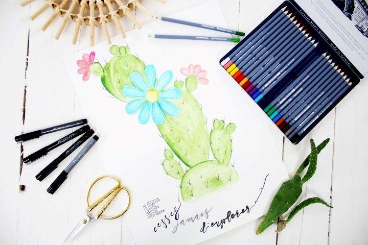Diy Cactus Fleuri Aquarelle Aquarelle Crayons Aquarelles Et