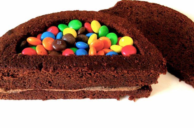 Rainbow inside cake with m&ms
