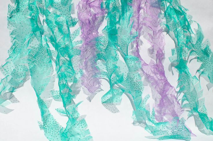 DIY Tulle Seaweed   these little loves blog: The Littlest Mermaid   A Sparkly Teal and Purple First Birthday Party