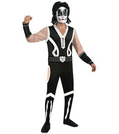 Kiss kostuum Catman. De kat-achtige uitvoering van de band Kiss. Dit Kiss kostuum bestaat uit een jumpsuit, masker en zilveren boot tops. Carnavalskleding 2015 #carnaval