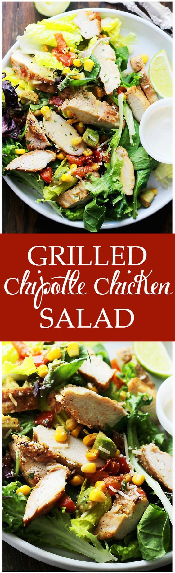Grilled Chipotle Chicken Salad - Oven grilled chicken seasoned with chipotle powder and tossed with all your favorite southwestern fixings. An incredibly delicious salad with a bite!
