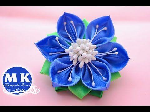 Мастер-класс Канзаши. Цветок из атласных лент. Резинка для волос/Diy.Flower…