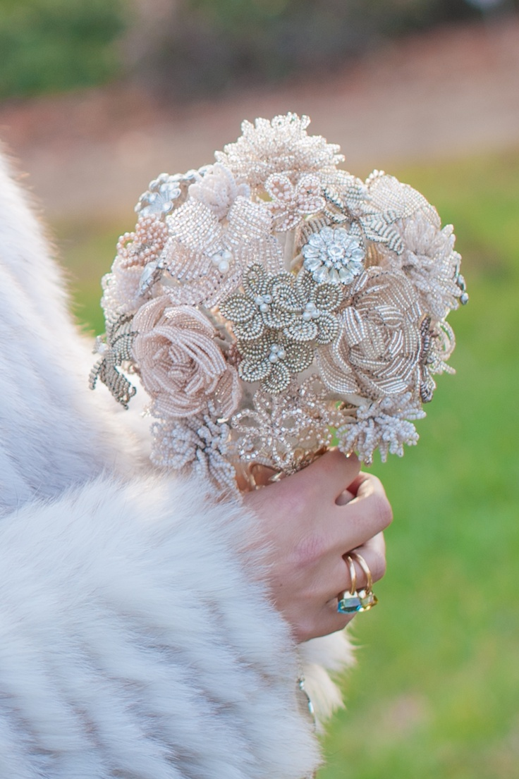 Hand beaded bridal bouquets - can be customized: each flower is handmade and can incorporate broaches and special vintage jewelry pieces.