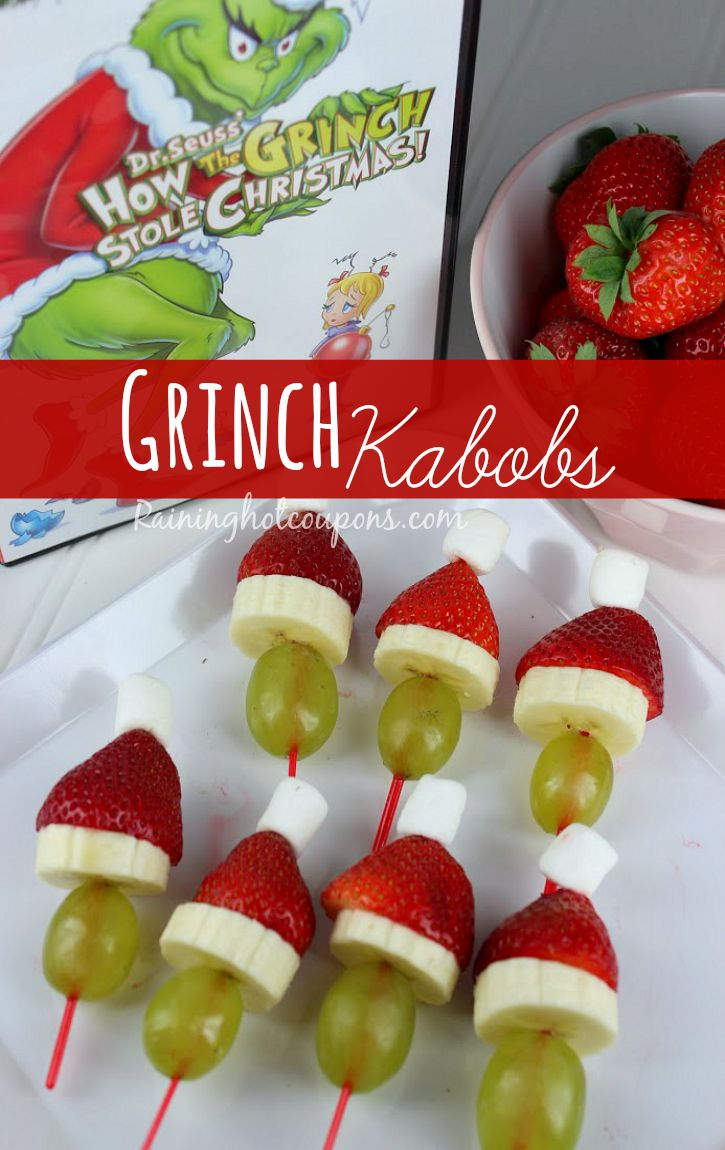 Grinch Kabobs Recipe. // Maybe a Grinch Christmas party at school this year?