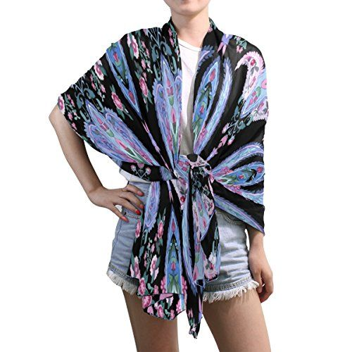 Lightweight Shawl Wrap Sheer Scarves,Purple Paisley Floral,Oblong Chiffon Scarf >>> Additional details @