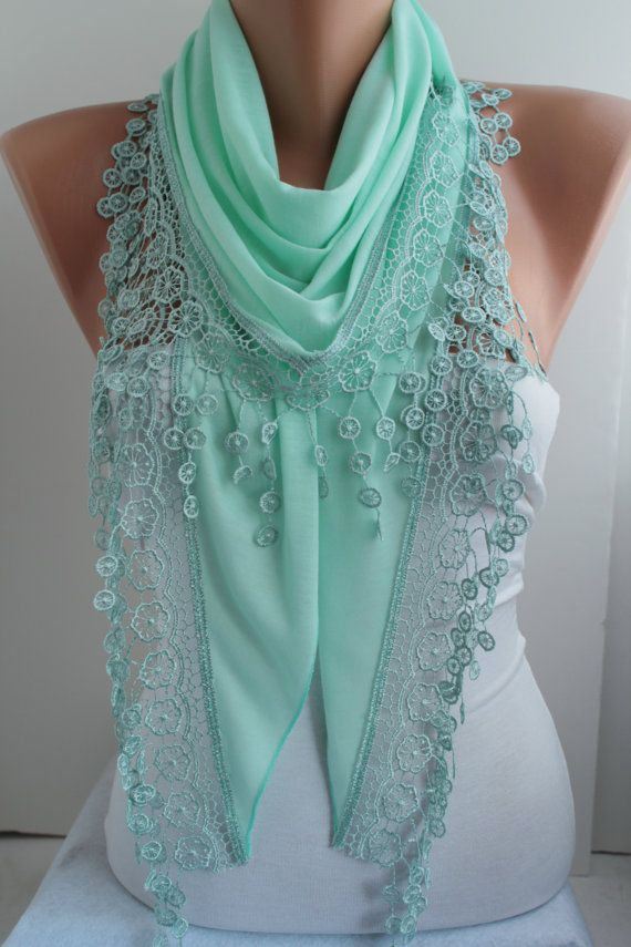 Mint Scarf Shawl Scarf Lace Scarf Mint Cotton Scarf by DIDUCI