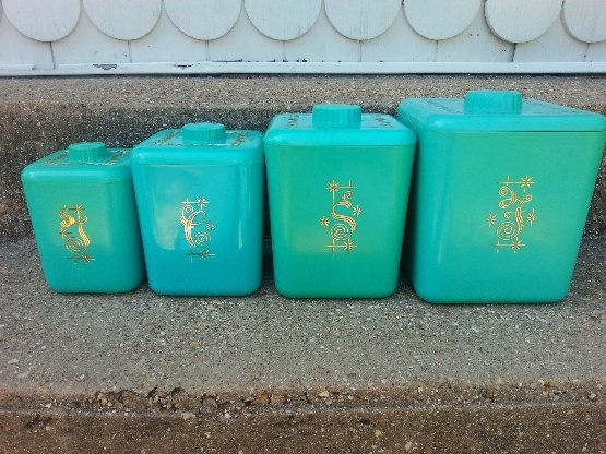 Vintage Canister Set Turquoise- Plastic Retro Canister Set- Cols. Plastic Company by LilacsandLace76 on Etsy