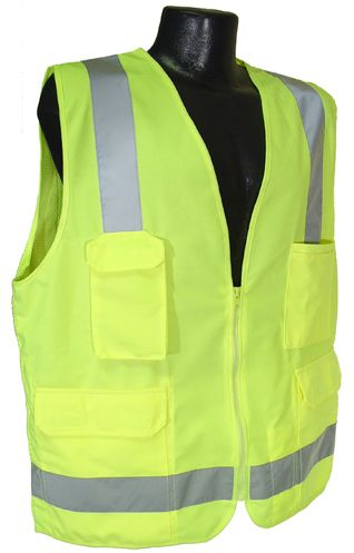 """The surveyor vest features a functional pocket configuration so you can carry the tools you need to do your job. Radio pocket and lower front pockets are covered. Inside pockets are extra deep to prevent tools, phones, or radios from falling out.  Features: Closure: Zipper 2"""" silver tape reflective material. 1 horizontal stripe Pockets: 1 split pad/pencil, 1 radio, 2 each lower flap covered, 2 each deep inside pockets Materials: 100% Polyester Solid Knit Front 100% Polyester Mesh ..."""