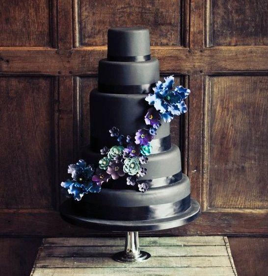 Beautiful Charcoal Grey Wedding Cake