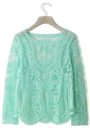 Delicacy Crochet Top in Mint Green