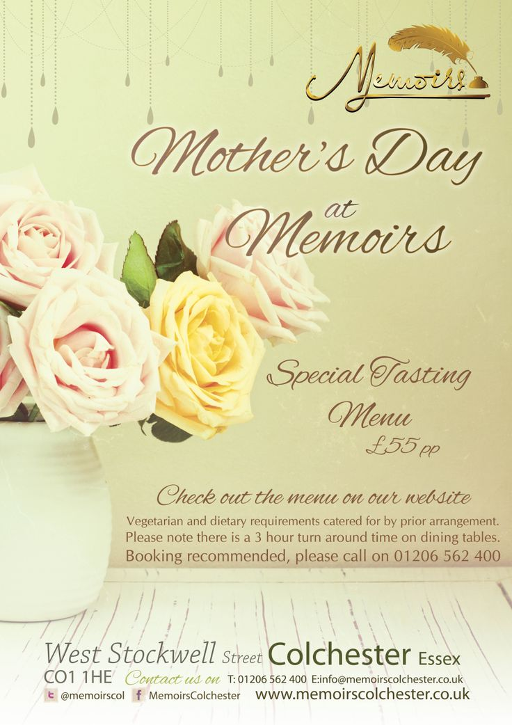 Mother's Day Poster for Memoirs Restaurant & Cocktail Bar