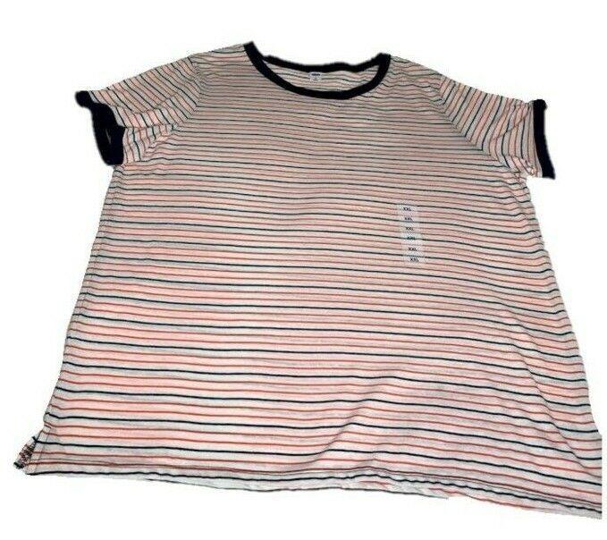 c3d581f1cde1 OLD NAVY Women's Short Sleeve Red and Navy Striped Tee Shirt Plus Size XXL  NEW #OldNavy #TShirt #stripeshirt