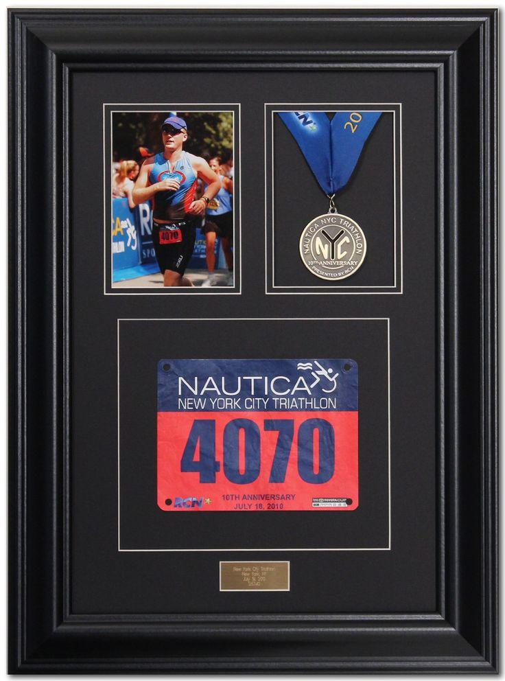 Triumph Marathon and Triathlon Photo, Finishing Medal and Race Bib Framing Kit - Satin Black