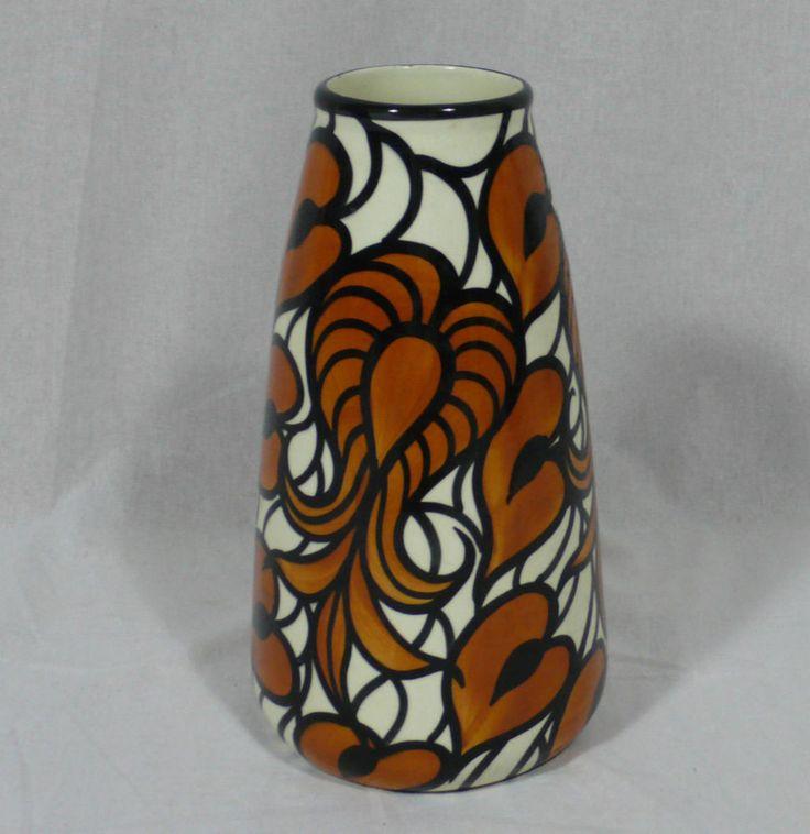 vase keramikvase handgemalt schramberg wei braun 30 cm vase. Black Bedroom Furniture Sets. Home Design Ideas