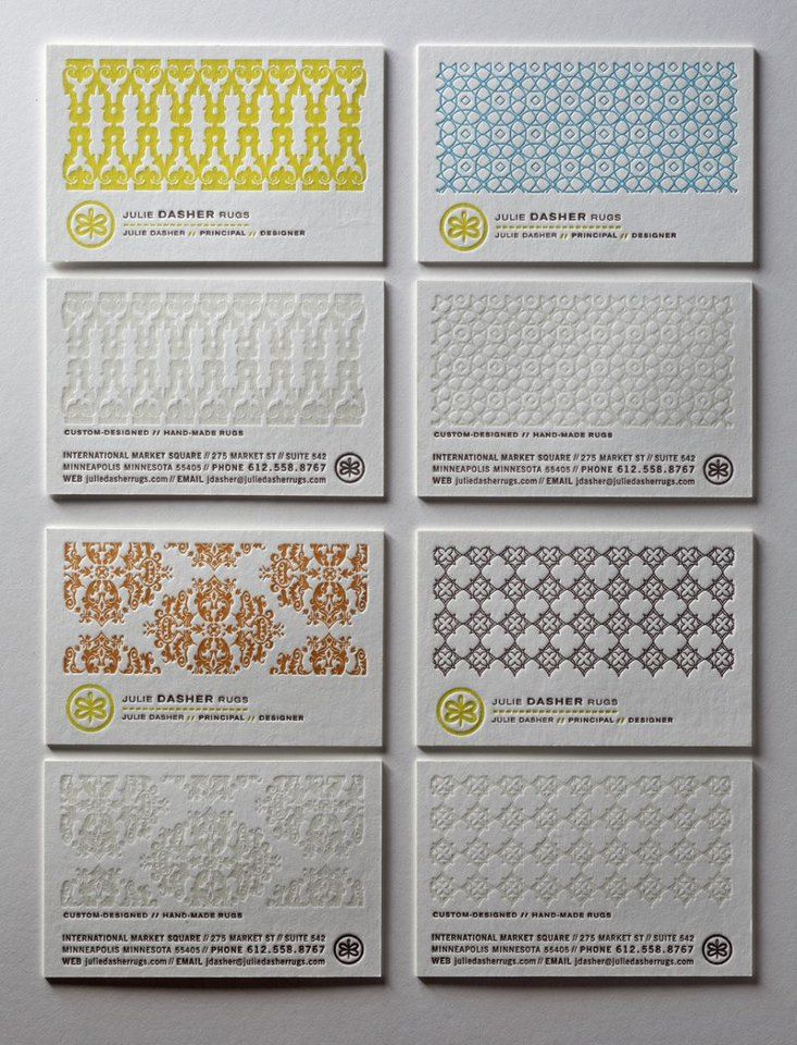 letter press- business card- great patterning