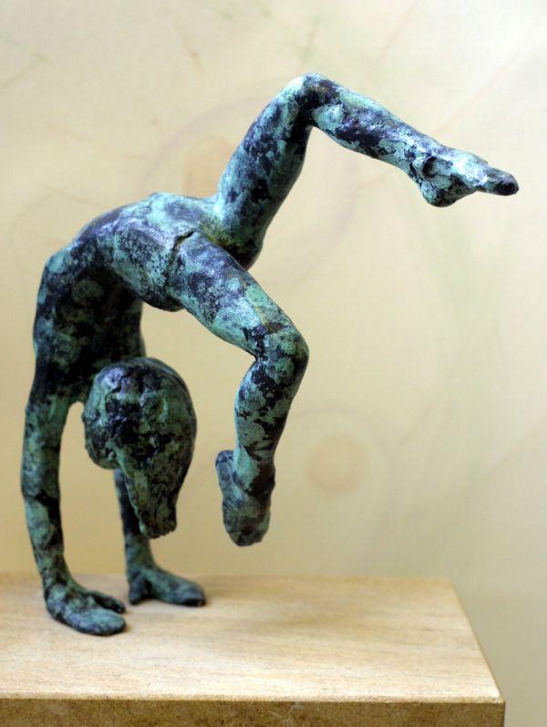 Bronze on ancaster Sculpture of Children by artist Alison Bell titled: 'Walkover (bronze Girl on her hands sculpture statue statuette figurine)'