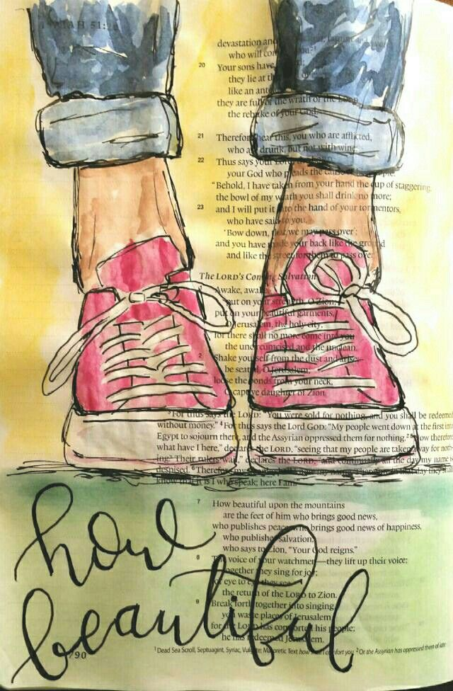 """How beautiful on the mountains are the feet of him who brings good news, who proclaims peace, who brings good news of happiness, who proclaims salvation, who says to Zion, ""Your God reigns."" -Isaiah 52:7 Pink Converse Bible art journaling by @peggythibodeau www.peggyart.com"