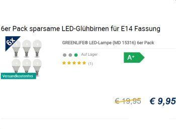 Medion: Sechserpack LED-Birnen mit E14-Sockel für 9,95 Euro frei Haus https://www.discountfan.de/artikel/technik_und_haushalt/medion-sechserpack-led-birnen-mit-e14-sockel-fuer-995-euro-frei-haus.php Der Aldi-Lieferant Medion bietet an diesem Wochenende ein Sechserpack LED-Birnen mit E14-Sockel für 9,95 Euro frei Haus – die Lichtleistung reicht jedoch nur für eine Ambiente-Beleuchtung. Medion: Sechserpack LED-Birnen mit E14-Sockel für 9,95 Euro frei Haus (Bild: Med