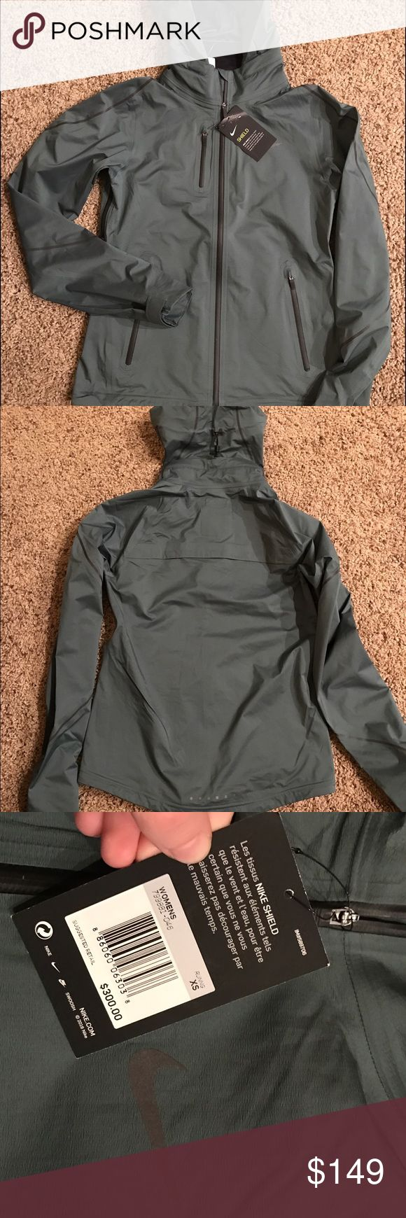 NWT Nike Shield Waterproof Jacket Blue/Grey Nike Shield Jacket. NWT.  XS. Amazing workout piece. REASONABLE OFFER ACCEPTED Nike Jackets & Coats