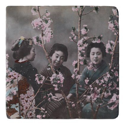 Three Girls in Kimonos Trivet - girl gifts special unique diy gift idea