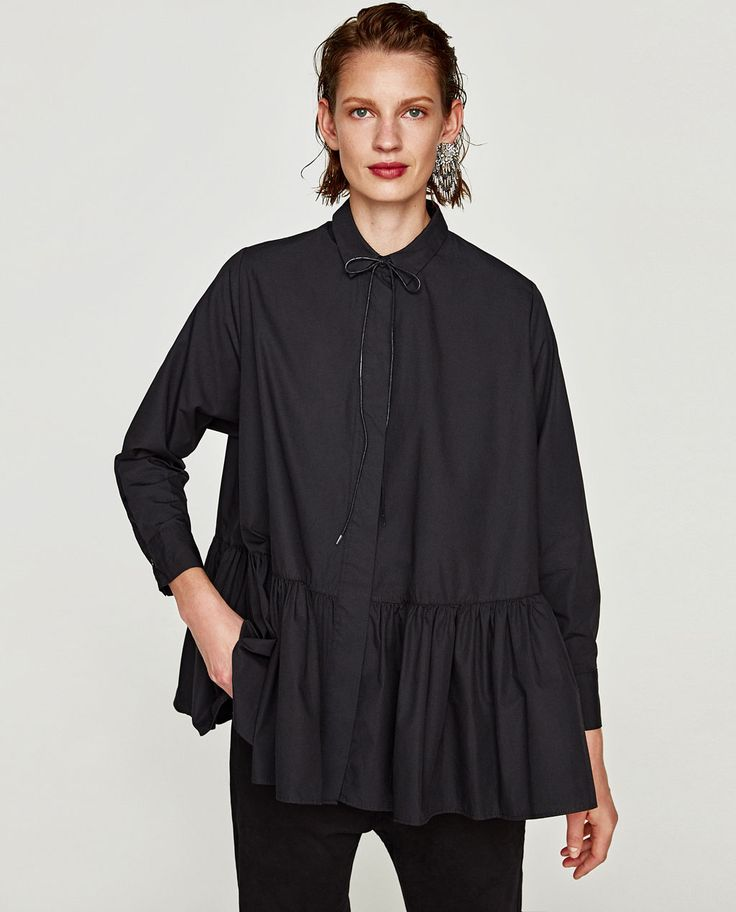 Image 2 of FRILLY POPLIN SHIRT from Zara