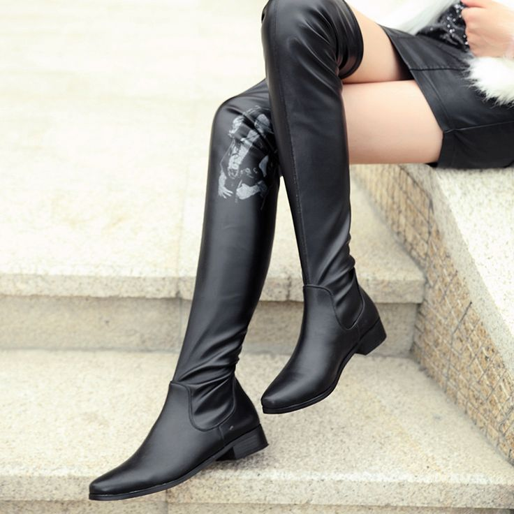 Women's Shoes Round Toe Chunky Low Heel Knee Over High Boots