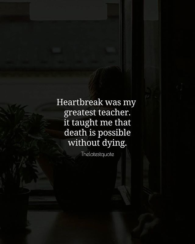 heartbreak was my greatest teacher. it taught me that death is possible without dying. . . #thelatestquote #quotes