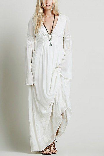 Deep V Neck Maxi Dress with Floral Embroidery Details - US$55.95 -YOINS