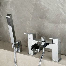 Contemporary Optimus Solid Brass Waterfall Bath Shower Mixer Faucet T0218