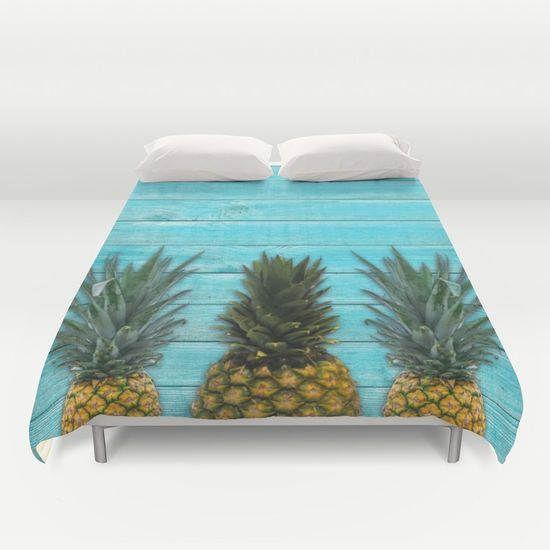Pineapple Summer,Duvet cover,Bedding,Bedroom decor,Queen,King and Full duvet cover,Sleep in nature,beach house bedding,Fruit duvet cover by OkopipiDesign on Etsy