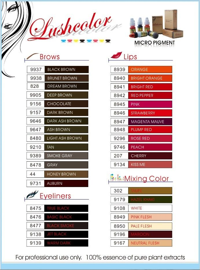 8 best permanent make up pigment images on pinterest for Tattoo ink color chart