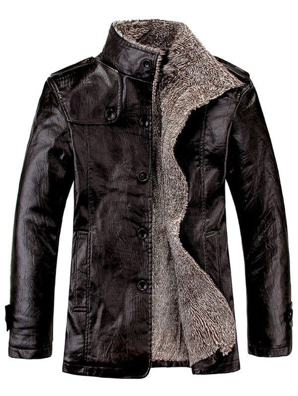 e4a54efc9 Stand Collar Flocking Single Breasted PU-Leather Jacket